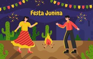 casal comemorando festa junina vetor