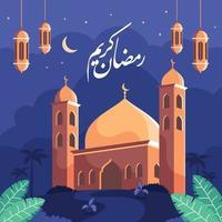 mesquita com fundo do céu noturno vetor