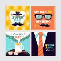 coleção de cartões comemorativos para o dia dos pais vetor
