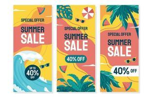 conjunto de banner de venda de verão colorido vetor