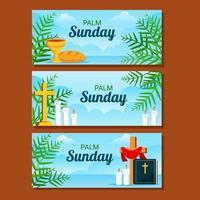 desenho de banner palm domingo vetor