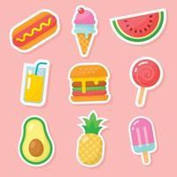 coleção de adesivos de comida de verão vetor