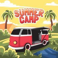 fundo de acampamento de verão com van vetor