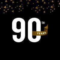 Número do aniversário de 90 anos com ilustração de design de modelo de vetor de celebração de fita dourada