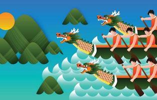 conceito de celebração do festival do barco dragão vetor