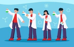 alunos vestem conjunto de caracteres de jaleco vetor