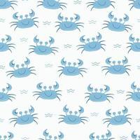 padrão de caranguejo azul bonito sem costura, rabiscos de animais desenhados à mão dos desenhos animados. fundo da ilustração do vetor. caranguejos engraçados com ondas. vetor