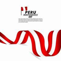 ilustração de design de modelo de vetor de celebração do dia da independência do Peru