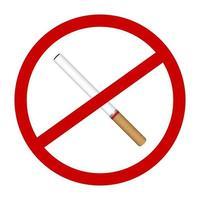 nenhum vetor de sinal de proibição de ícone de cigarro de fumaça