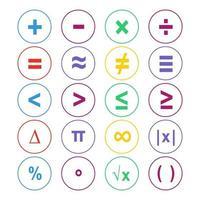 conjunto de símbolos matemáticos coloridos vetor