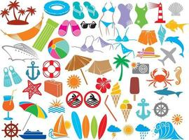 conjunto de ícones de verão ou viagens vetor