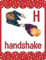cartão flash do alfabeto com a letra h para aperto de mão vetor