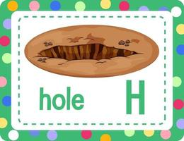flashcard do alfabeto com a letra h para buraco vetor