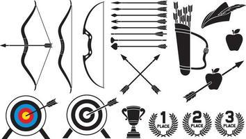 conjunto de ícones de tiro com arco ou coleção vetor