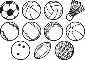 conjunto de ícones de linhas finas de bolas vetor