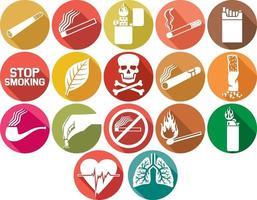 cigarros e ícones planos de tabaco vetor