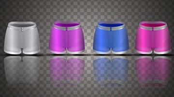 conjunto de shorts femininos, vista frontal, sportswear, ilustração 3D vetor