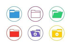 conjunto de ícones de pasta coloridos vetor