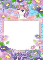 banner em branco com linda personagem de desenho animado de unicórnio vetor