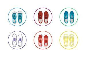 conjunto de ícones de sapatos coloridos vetor