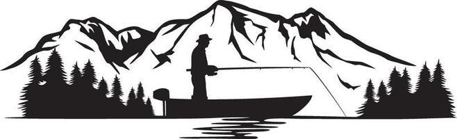 pescador em um barco e paisagem de montanha vetor