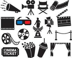 coleção de ícones de cinema vetor