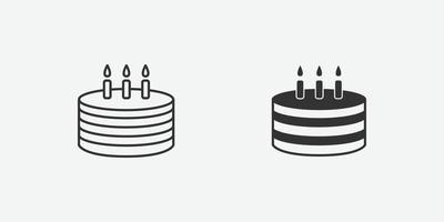 bolo de aniversário com o símbolo da vela no fundo cinza vetor