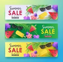modelo de fundo de banner de pôster de venda de verão vetor