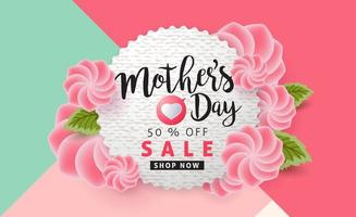 fundo do banner do pôster de venda do dia das mães vetor