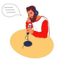 um locutor de rádio grava um podcast de áudio. um podcaster masculino fala em um microfone. o apresentador de rádio transmite na mídia., o dj trabalha no estúdio. ilustração vetorial plana vetor