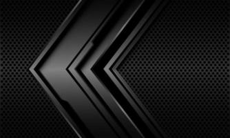 abstrato cinza metálico preto linha circuito cibernético direção de seta no design de malha de círculo ilustração vetorial de fundo de tecnologia futurista moderna vetor