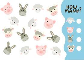 jogo de contagem para crianças pré-escolares. jogo educacional de matemática. conte quantos animais de fazenda existem e anote o resultado. ilustração vetorial no estilo cartoon vetor
