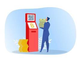 empresário retira dinheiro do itm com ilustração vetorial de dinheiro virtual ou digital vetor