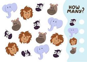 jogo de contagem para crianças pré-escolares. jogo educacional de matemática. conte quantos animais selvagens existem e anote o resultado. ilustração vetorial no estilo cartoon vetor