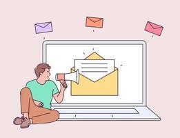 marketing digital, conceito de campanha de e-mail. rapaz jovem no laptop, segurando falando com um megafone. ilustração de estilo de linha moderna vetor