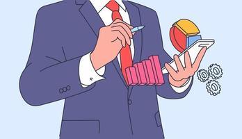 análise, plano de negócios concept.businessmen balconista gerente planejamento e brainstorming. ilustração vetorial plana vetor
