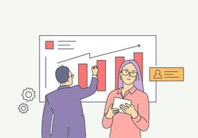 análise, estatística, planejamento, conceito de parceria de negócios. jovem e mulher, empresário conduzem análise, estratégia de desenvolvimento, melhoria juntos. vetor