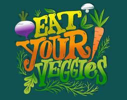 Coma sua rotulação veggies vetor