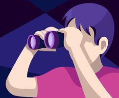 Pessoa procurando em binóculos vetor