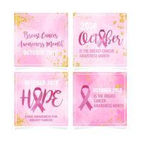 Modelo de conscientização de câncer de mama de vetor