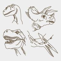 Caras de dinossauro realistas vetor