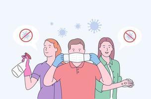 uma máscara médica protege contra a propagação do coronavírus covid-19. parar o conceito de coronavírus covid-19. conceito de ilustração vetorial de quarentena de coronavírus. família na máscara facial médica. vetor