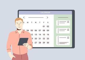 planejamento de programação e conceito de calendário online. homem de negócios, planejando o dia, agendando compromissos no aplicativo de calendário. o homem está adicionando eventos, lembretes de reunião no aplicativo de planejamento. vetor