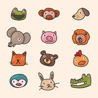 Amigos animais rostos vetor