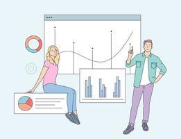 conceito de análise de dados. funcionários parceiros de negócios analisando dados financeiros e estatísticas de informações de marketing. ilustração vetorial plana vetor