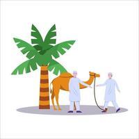 ilustração de muçulmanos em peregrinação vetor
