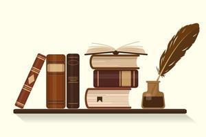 estante com livros marrons antigos ou históricos e tinteiro com pena de ganso vetor
