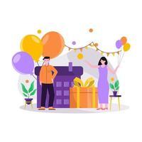 ilustração em vetor plana de celebração festiva de aniversário com balões e presentes