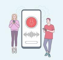 alto-falante inteligente, conceito de assistente de voz com personagens. jovens com gadgets perto de smartphone. reconhecimento de alto-falante, alto-falante inteligente controlado por voz. assistentes digitais ativados por voz, identificação. vetor