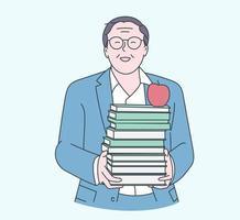 conceito de dia de professores feliz. feliz velho professor segura um livro nas mãos na escola ou faculdade vetor